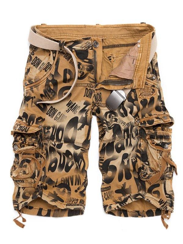 Men's Mixed Print Cargo Shorts - Khaki XL