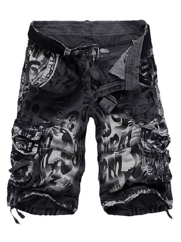 Men's Mixed Print Cargo Shorts - Dark Gray M