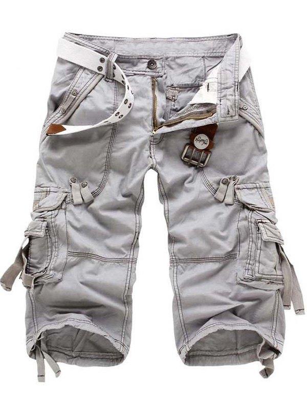 Men's Capri Cargo Shorts - Light Gray L