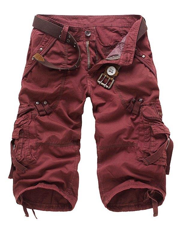 Men's Capri Cargo Shorts - Burgundy XL