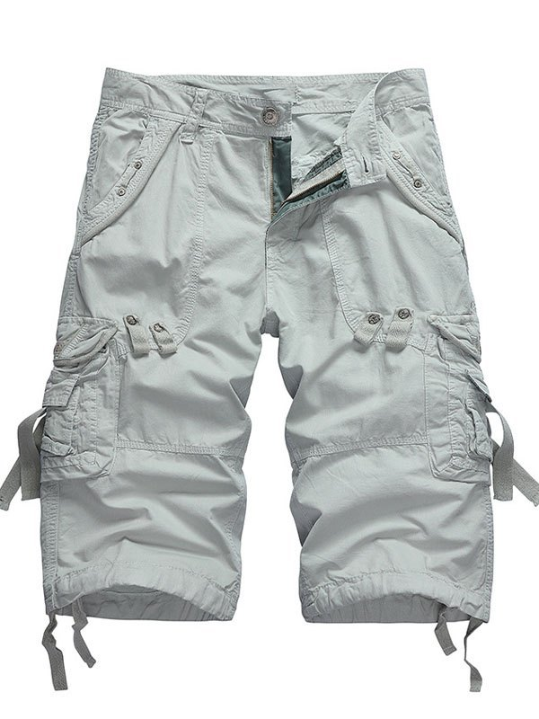 Men's Cotton Capri Cargo Shorts - Gray L