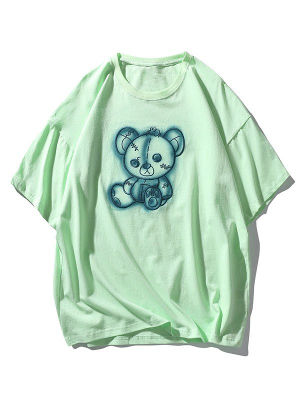Men's Tattered Bear Embroidered Tee - Green M