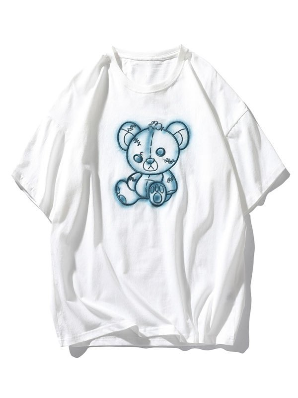 Men's Tattered Bear Embroidered Tee - White L