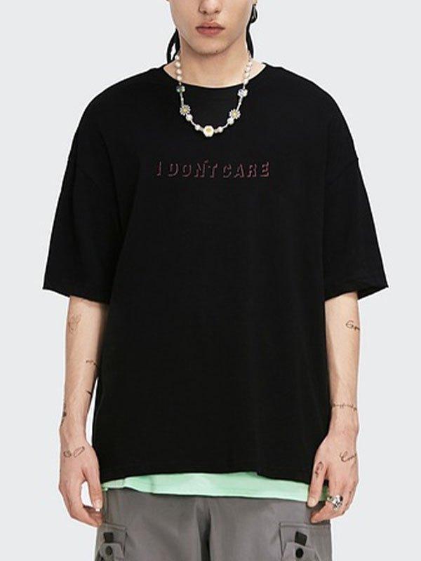T-shirt graphique à strass Dont Care pour hommes - Noir L