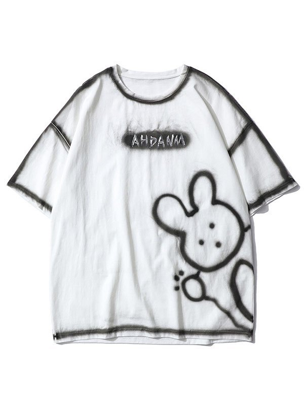 Men's Bunny Bear Printed Tee - White M