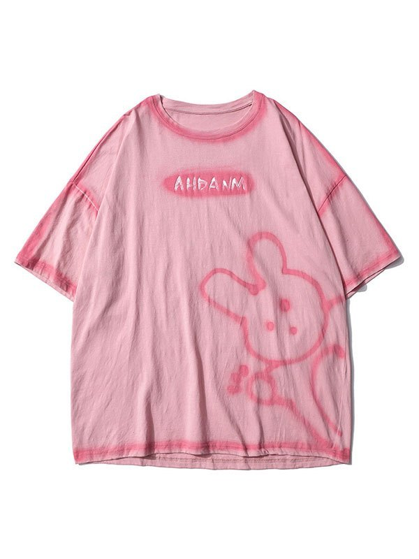 Men's Bunny Bear Printed Tee - Pink L