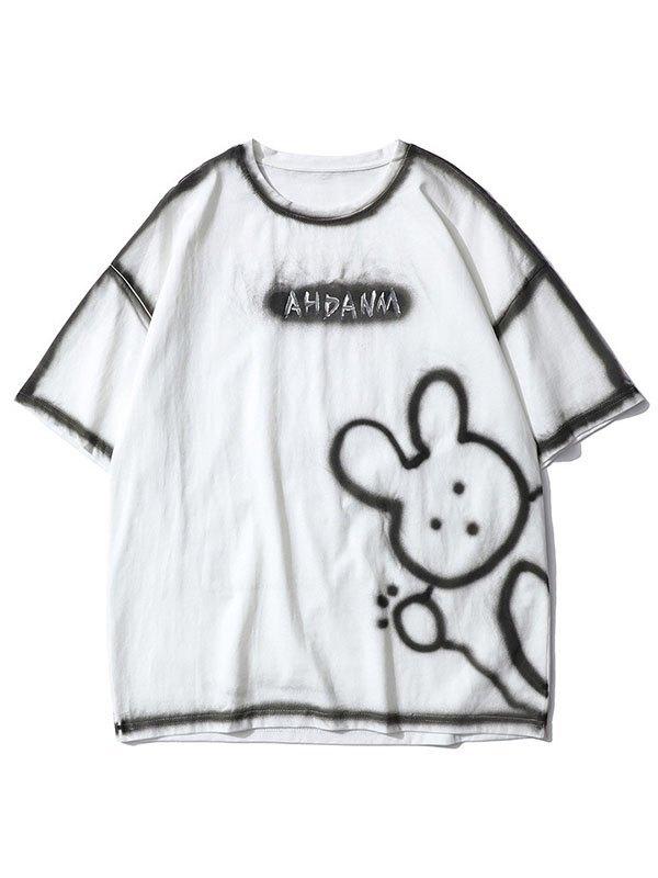 Men's Bunny Bear Printed Tee - White L