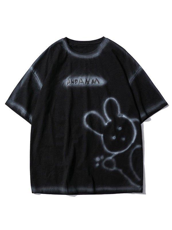 Men's Bunny Bear Printed Tee - Black M