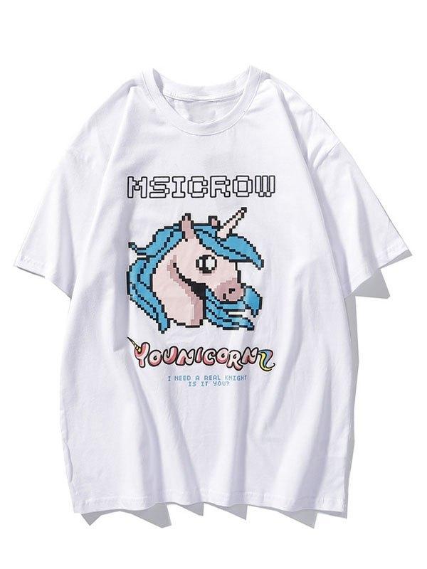 Men's Mosaic Unicorn Graphic Tee - White M