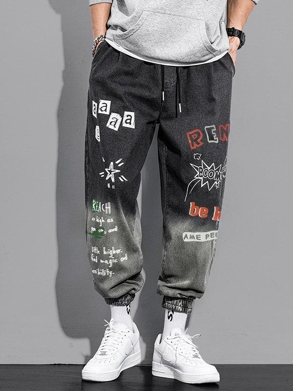 Men's Graffiti Print Tapered Jeans -