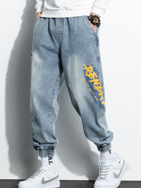 Men's Faded Letter Print Tapered Jeans -