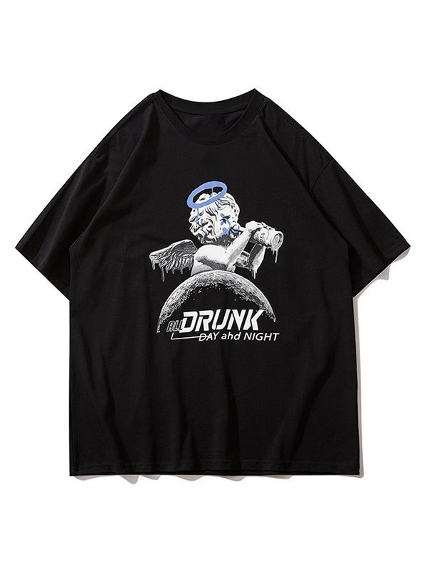 Men's Drunk Cherub Graphic Tee - Black M