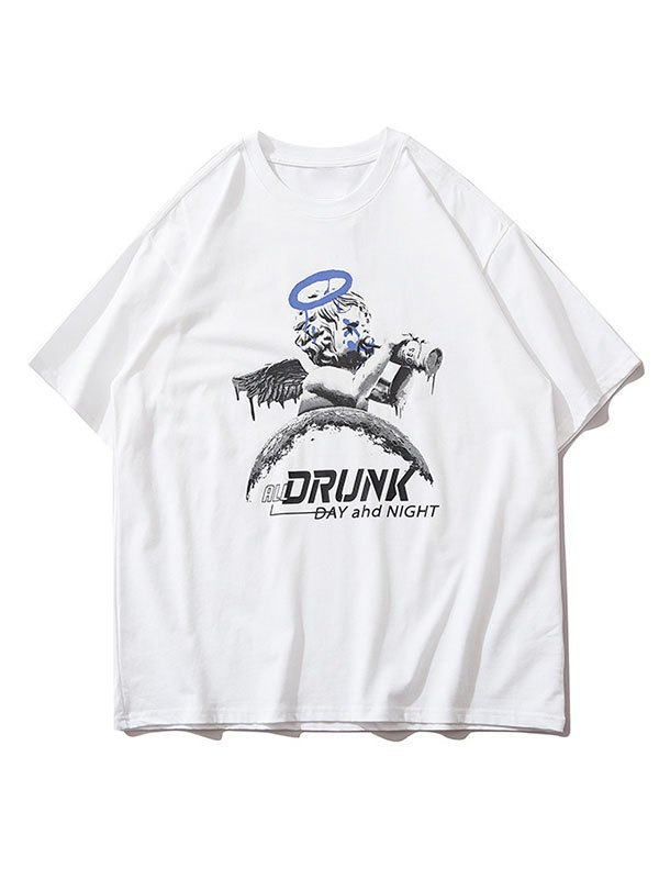 Men's Drunk Cherub Graphic Tee - White L