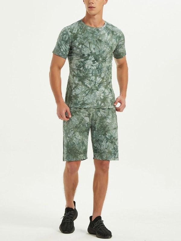 Men's Dizzy Tie-Dye Shorts Set - Green M