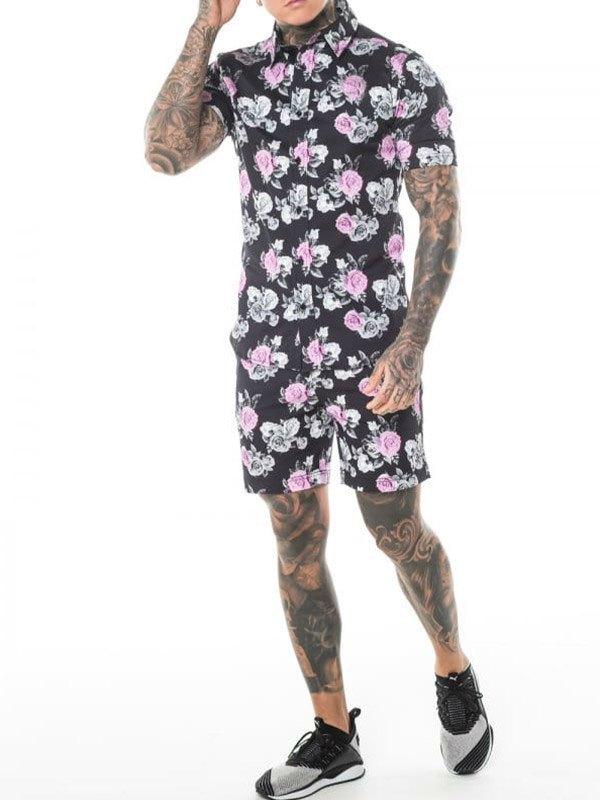 Men's Floral Print Shorts Set - Black L