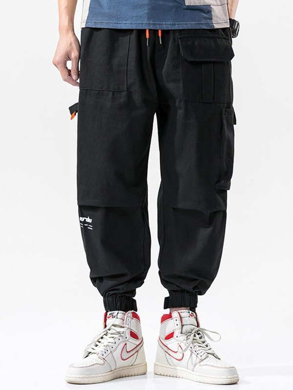 Men's Cotton Straight Cargo Pants - Black 4XL
