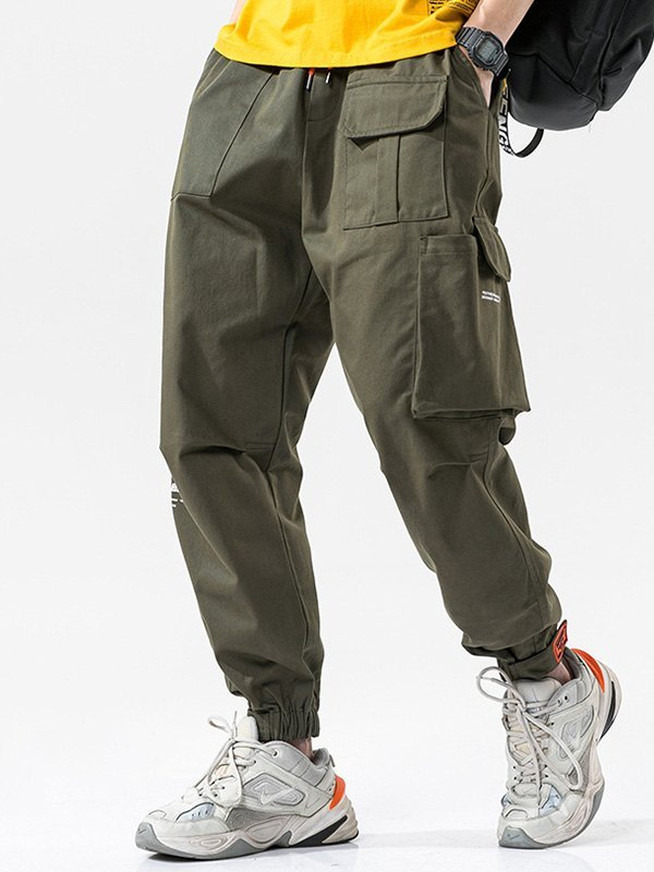 Men's Cotton Straight Cargo Pants - Green 2XL