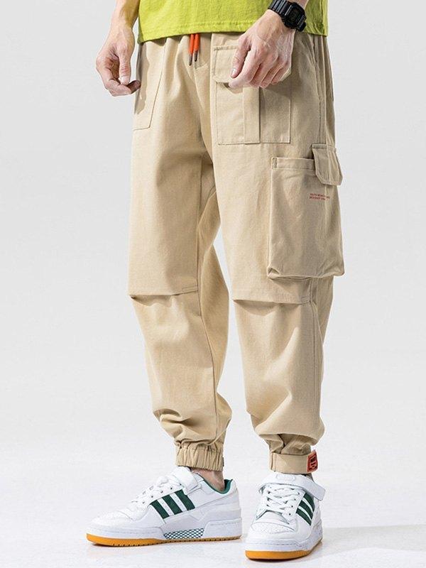 Men's Cotton Straight Cargo Pants - Khaki M