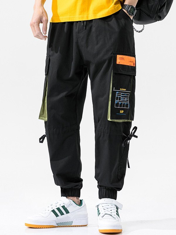 Men's Multi Pocket Cargo Pants - Black M