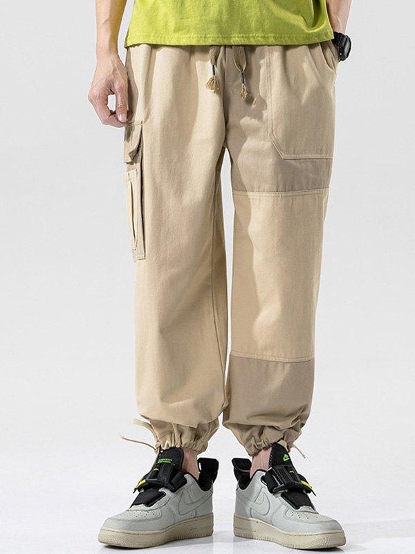 Men's Patchwork Cargo Pants - Khaki 3XL