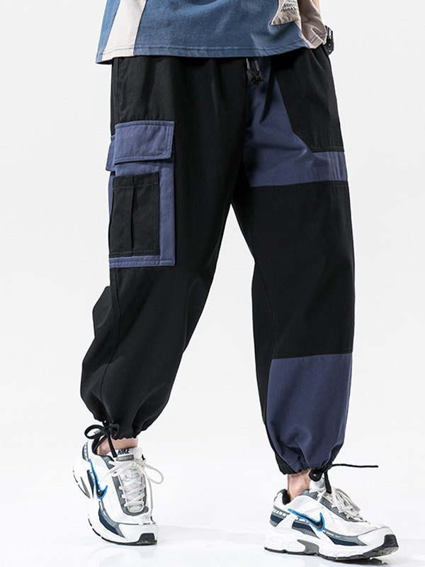 Men's Patchwork Cargo Pants - Black 4XL