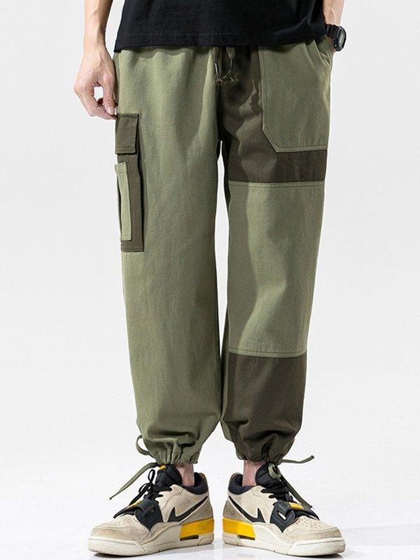 Men's Patchwork Cargo Pants - Green 3XL