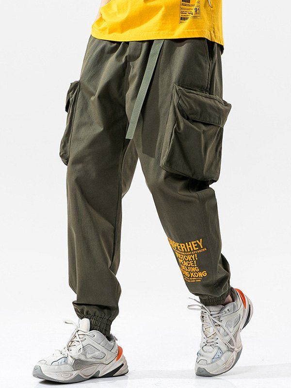 Men's Letter Print Cargo Pants - Green XL