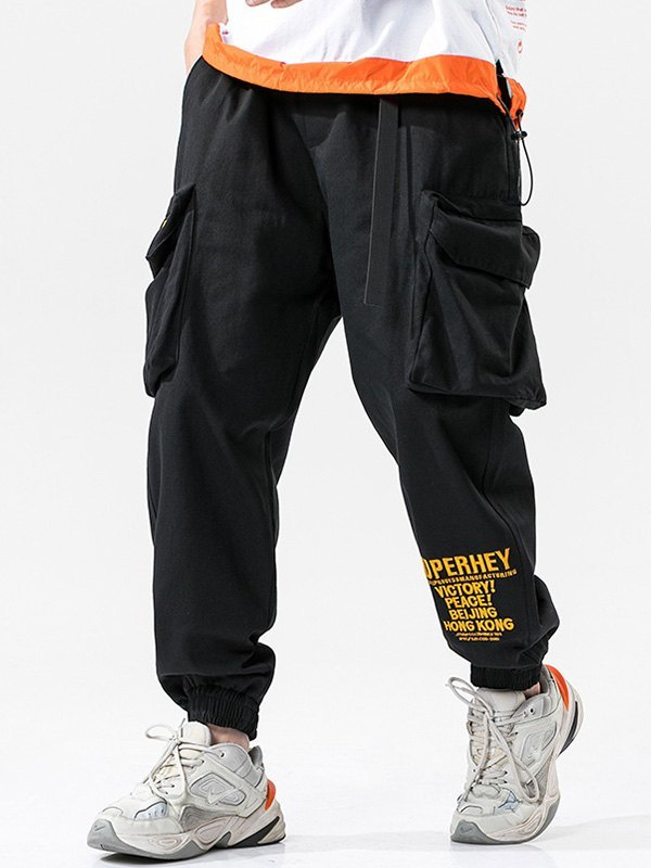 Men's Letter Print Cargo Pants - Black 2XL