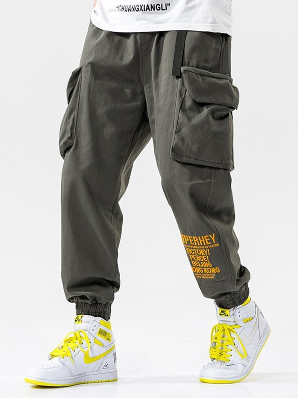 Men's Letter Print Cargo Pants - Gray 2XL