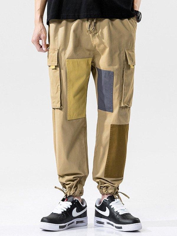 Men's Cotton Patchwork Cargo Pants - Khaki L