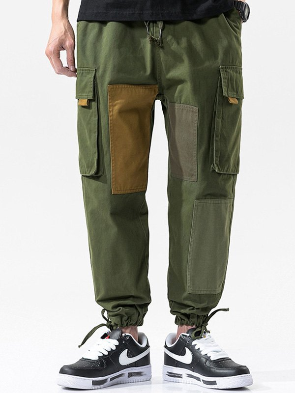 Men's Cotton Patchwork Cargo Pants - Green 3XL