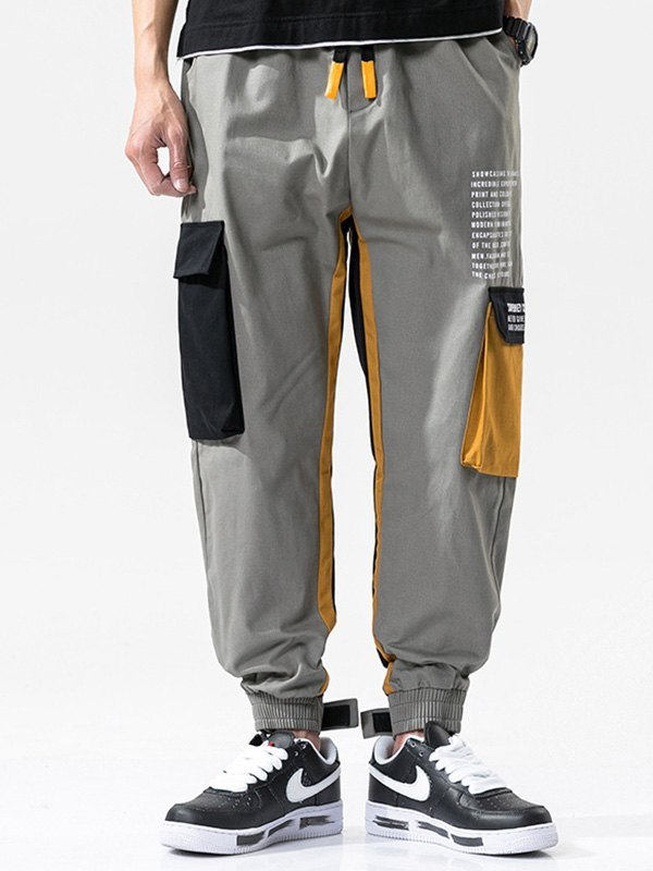 Men's Patchwork Pocket Cargo Pants - Gray 3XL