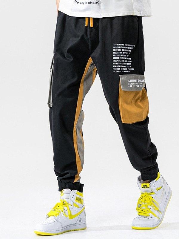 Men's Patchwork Pocket Cargo Pants - Black L