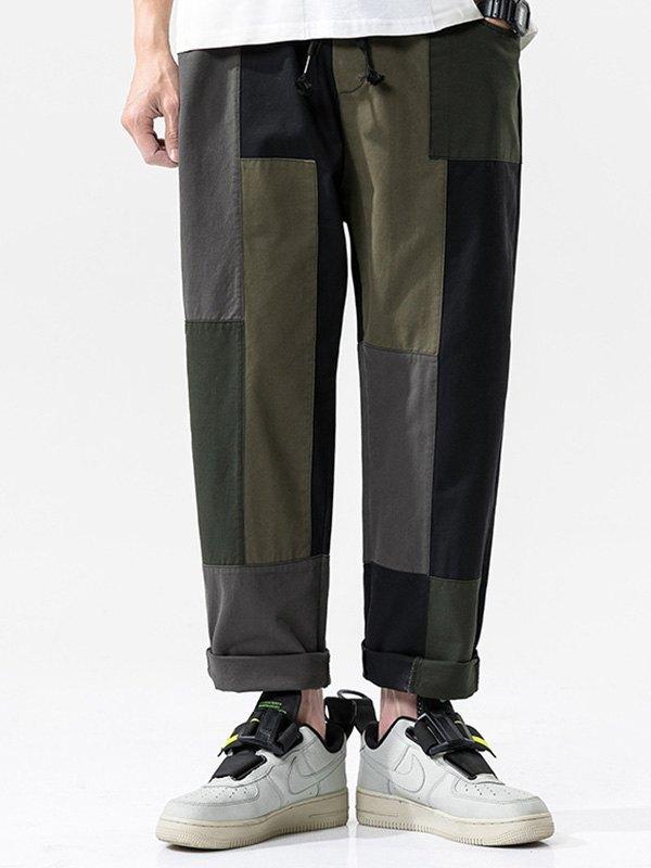 Men's Patchwork Straight Cargo Pants - multicolorple Colors L