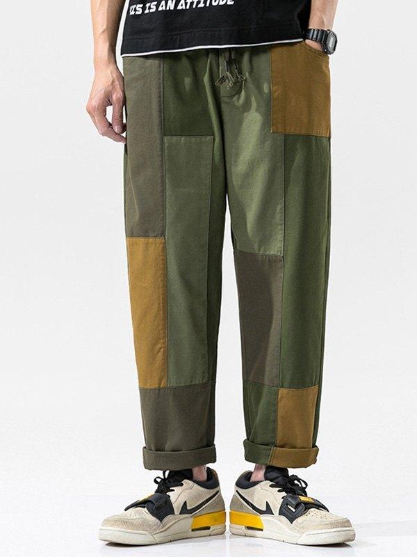 Men's Patchwork Straight Cargo Pants - multicolorple Colors 2XL