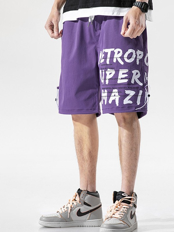 Men's Letter Print Knee-Length Shorts - Purple L