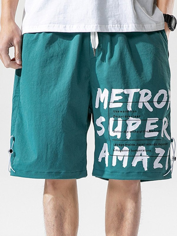 Men's Letter Print Knee-Length Shorts - Blue XL