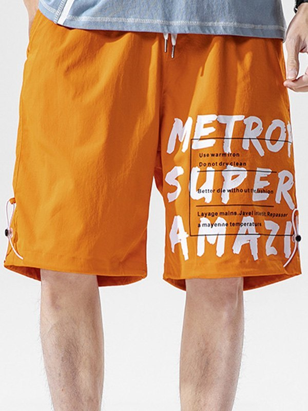 Men's Letter Print Knee-Length Shorts - Orange M
