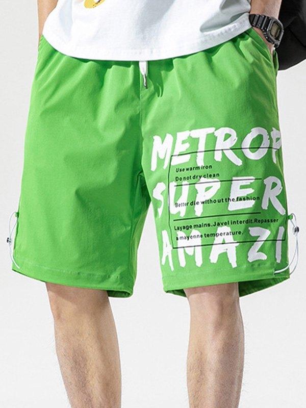 Men's Letter Print Knee-Length Shorts - Green XL