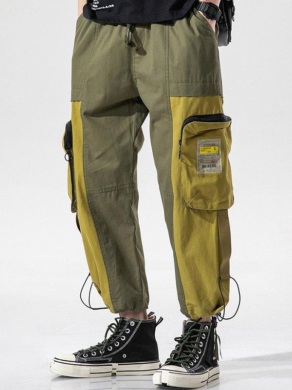 Men's Patchwork Cropped Pants - Green 3XL