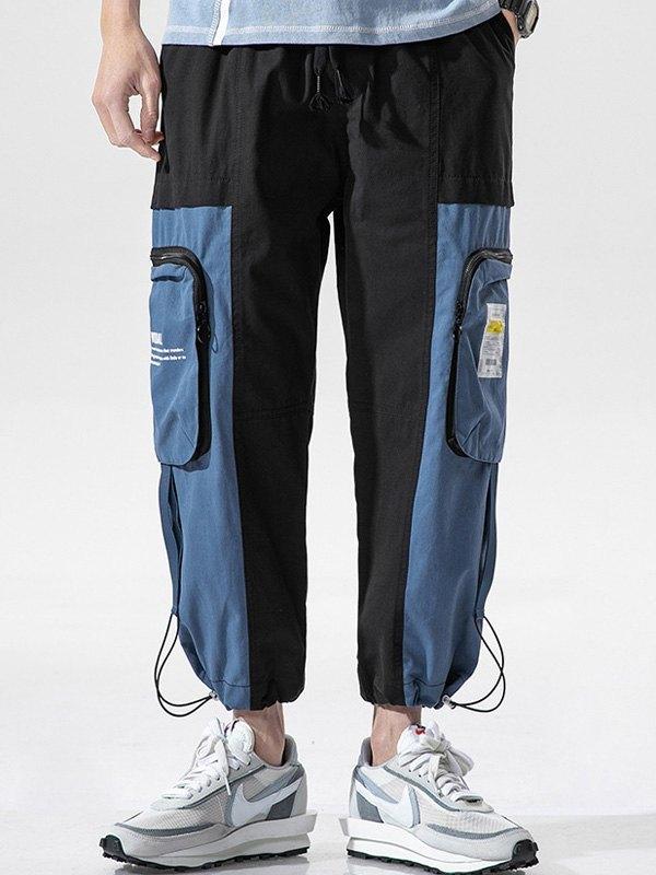 Men's Patchwork Cropped Pants - Black 2XL