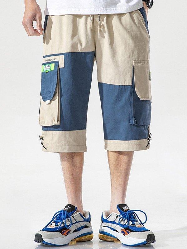Men's Patchwork Casual Cargo Shorts - Beige XL