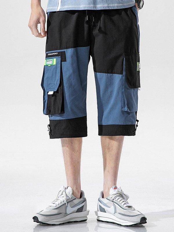 Men's Patchwork Casual Cargo Shorts - Black XL
