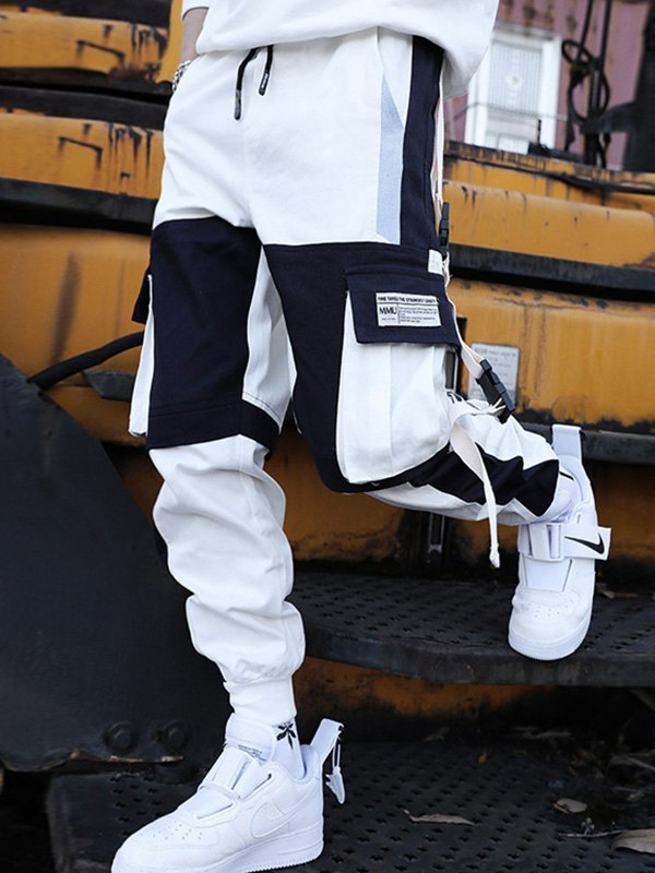 Men's Contrast Splice Cargo Pants - White 2XL