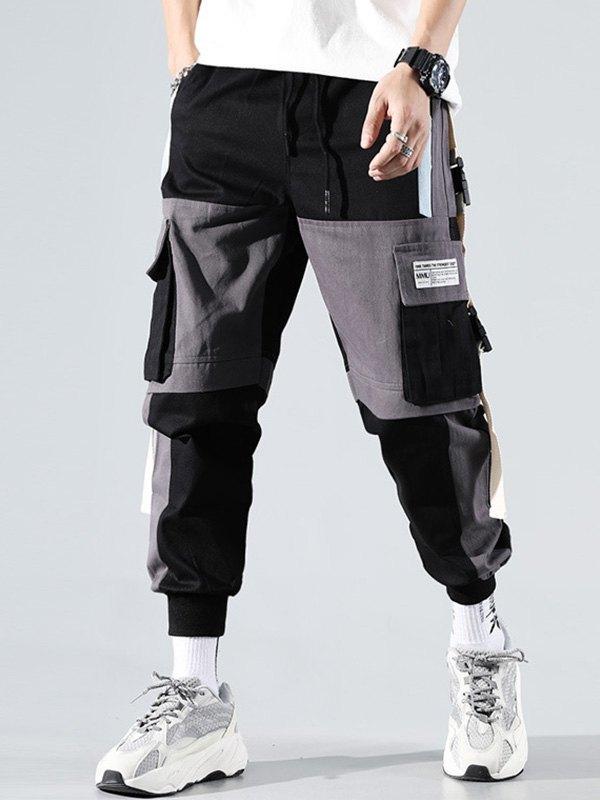 Men's Contrast Splice Cargo Pants - Black S