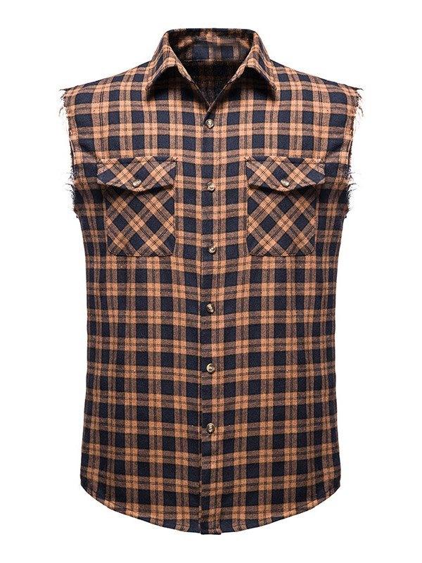 Chemise à carreaux sans manches pour hommes - Kaki XL