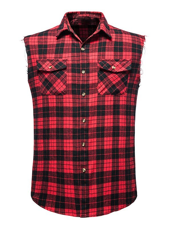 Chemise à carreaux sans manches pour hommes - Rouge L