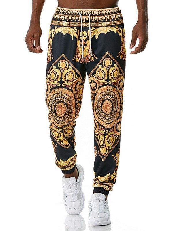 Men's Baroque Print Jogger Pants - Black S