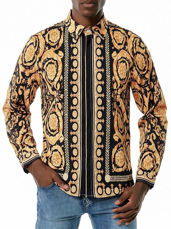 Men's Baroque Long Sleeve Shirt - Black L