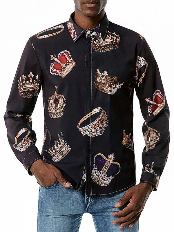 Men's Crown Print Long Sleeve Shirt - Black L